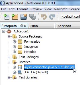 MySQL Connector agregado a la carpeta Libraries de nuestro proyecto