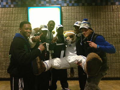 Mike Edwards, Dorian Hendrix, George Brown Jr., Tyrell Gilbert, the UK Mascot, Mikel Horton and Derek Kief