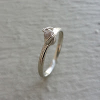 Raw Uncut Diamond Stacking Promise Engagement Rings in 14k Gold, Cruelty Free, Rough Diamond Engagement Rings