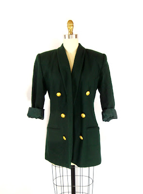 1980s Emerald Green and Gold Six Button Blazer / Shana Blazer