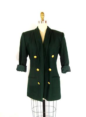 1980s Emerald Green and Gold Six Button Blazer / Shana Blazer