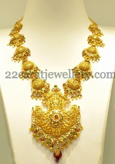 Antique Muvvala Haram in 22k Gold