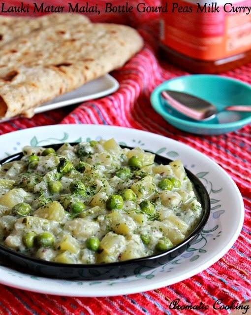 bottle gourd & peas milk curry, lauki matar malai, sorakkai pattani paal curry