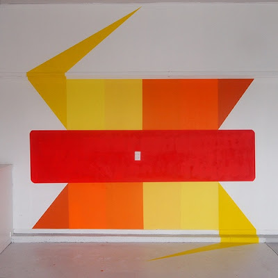 street art mural design squares red orange