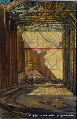 oil painting of Pyrmont industrial Heritage 'Industrial Cathedral, the Cooperage, C.S.R. Refinery' - oil on canvas 91x61cm by Artist Jane Bennett