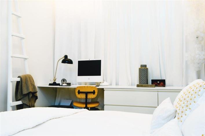 interiur huis keuken: Slaapkamer kantoor