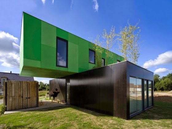 Modern house built with recycled containers
