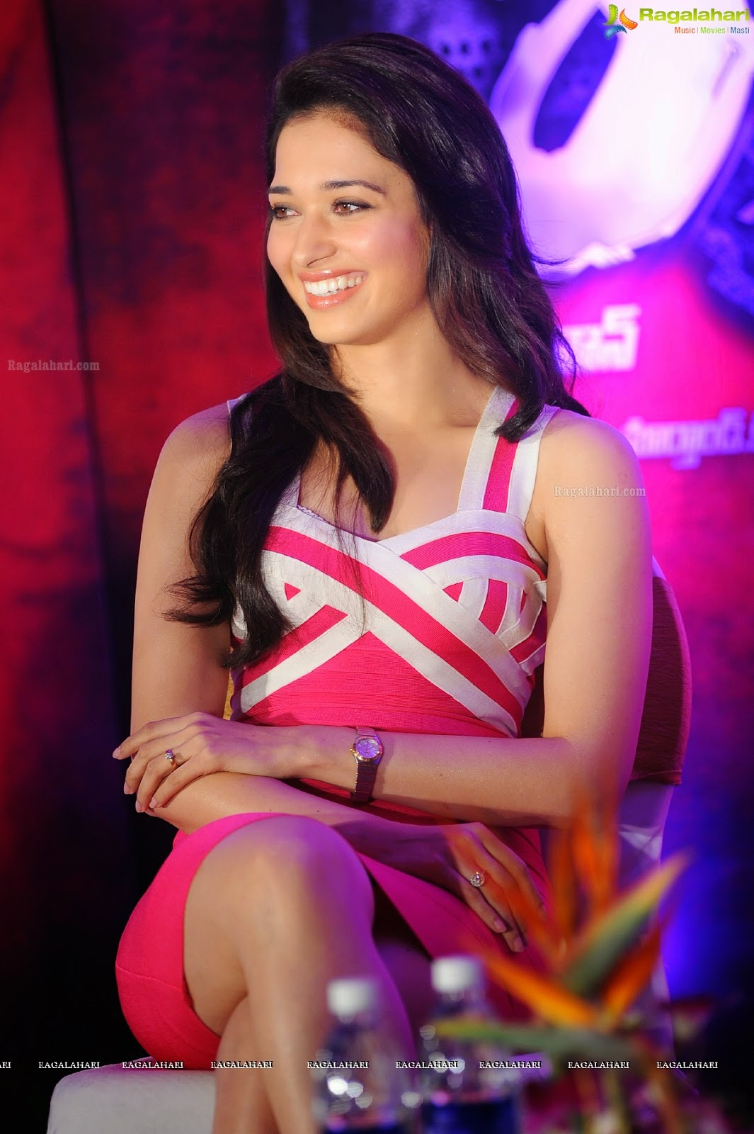 wsww: tollywood tamanna pink mini capri dress latest stills photos