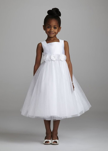 Flower Girl Dresses - David's Bridal Flower Girl Tank Ballgown with 3D Floral Sash