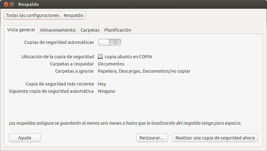 Crear copia de seguridad en Ubuntu 13.04, como restaurar  copia de seguridad en ubuntu