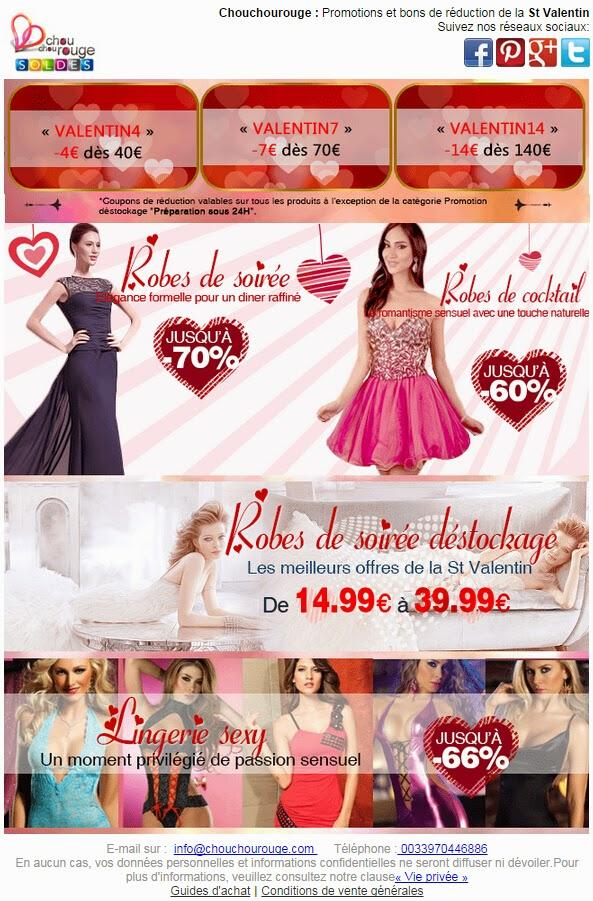 Jusqu'à -70% + 14€ de réduction St Valentin