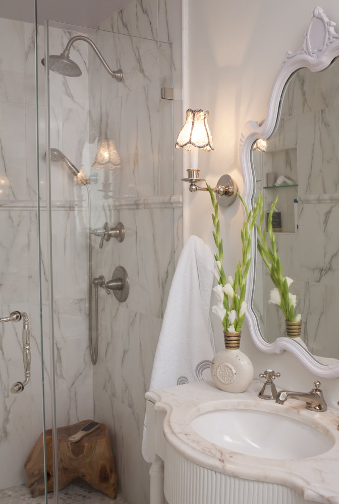 Simple renovation tips for bathrooms Julie Paulino Design marble shower