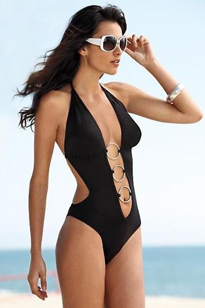 Sexy black one piece swimsuit foto 23