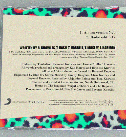 "Full inlay credits for Beyoncé's ""Grown woman"" 