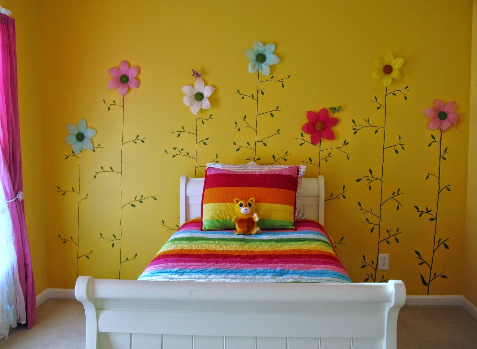 Bright and cheery girls bedroom on a budget bedroom ideas Toddler girl bedroom ideas on a budget