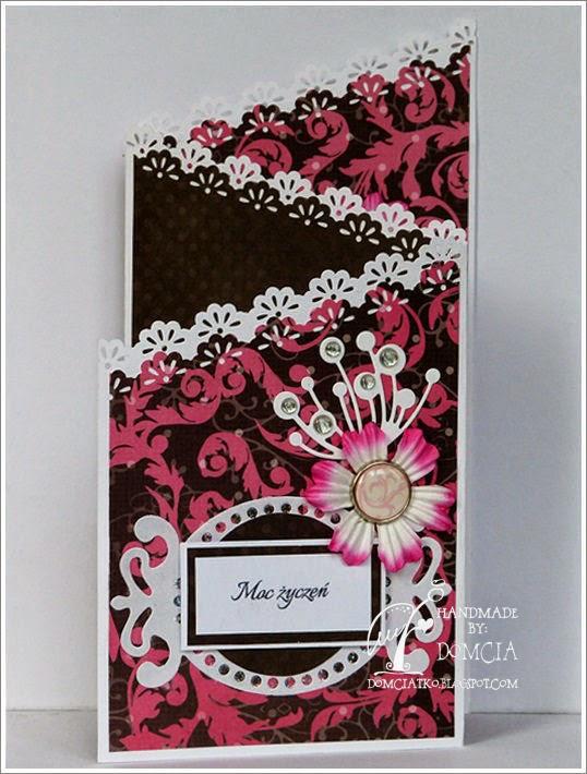kartka brązowo różowa, cards scrapbooking, handmade, kartka z kwiatkiem,