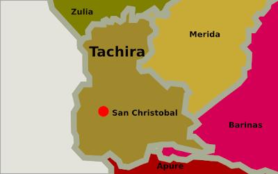 Mapa de Tachira Venezuela