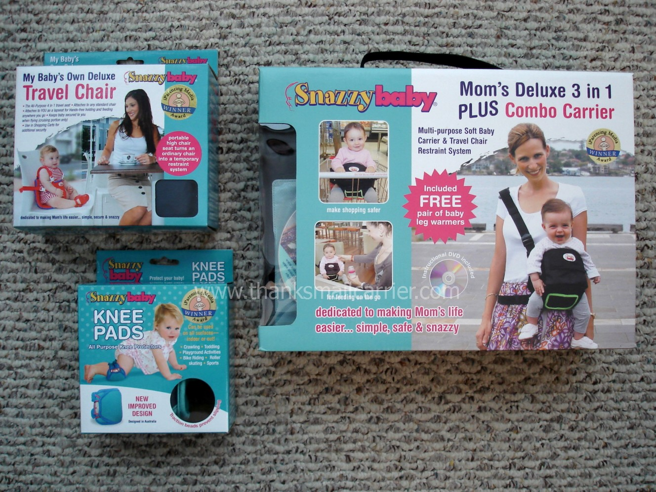 Snazzy Baby Kneepads, Travel Chair and Deluxe Combo Carrier – Click to see the Travel Chair in our store