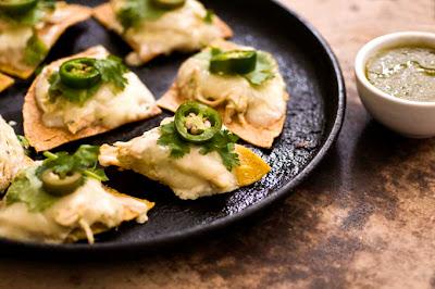 sour cream chicken nachos with poblano salsa verde
