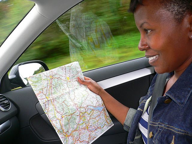 black woman with map