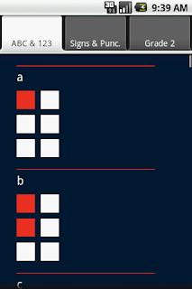 Tela do aplicativo: desenho das letras a e b. O fundo é azul marinho, os quadros das células brancas e as marcações das letras em vermelho.