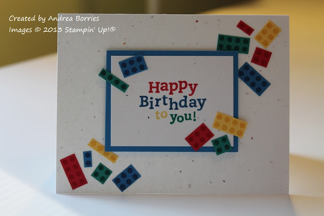 Birthday card with card stock embellishments stamped and cut to look like Lego building bricks.