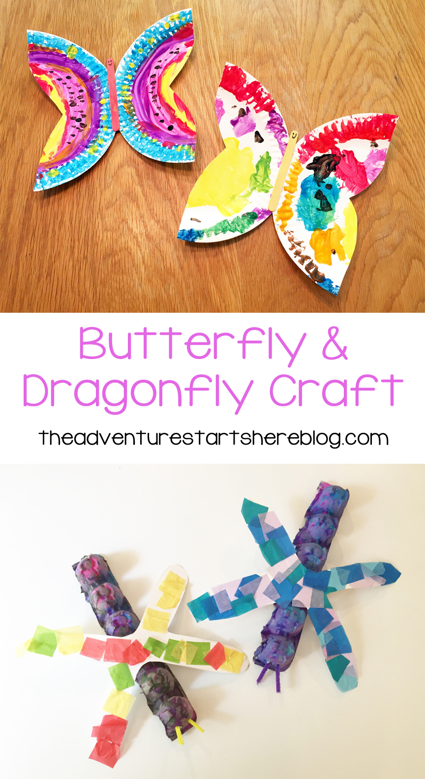 The adventure starts here butterfly and dragonfly toddler crafts paper plate butterfly jeuxipadfo Gallery