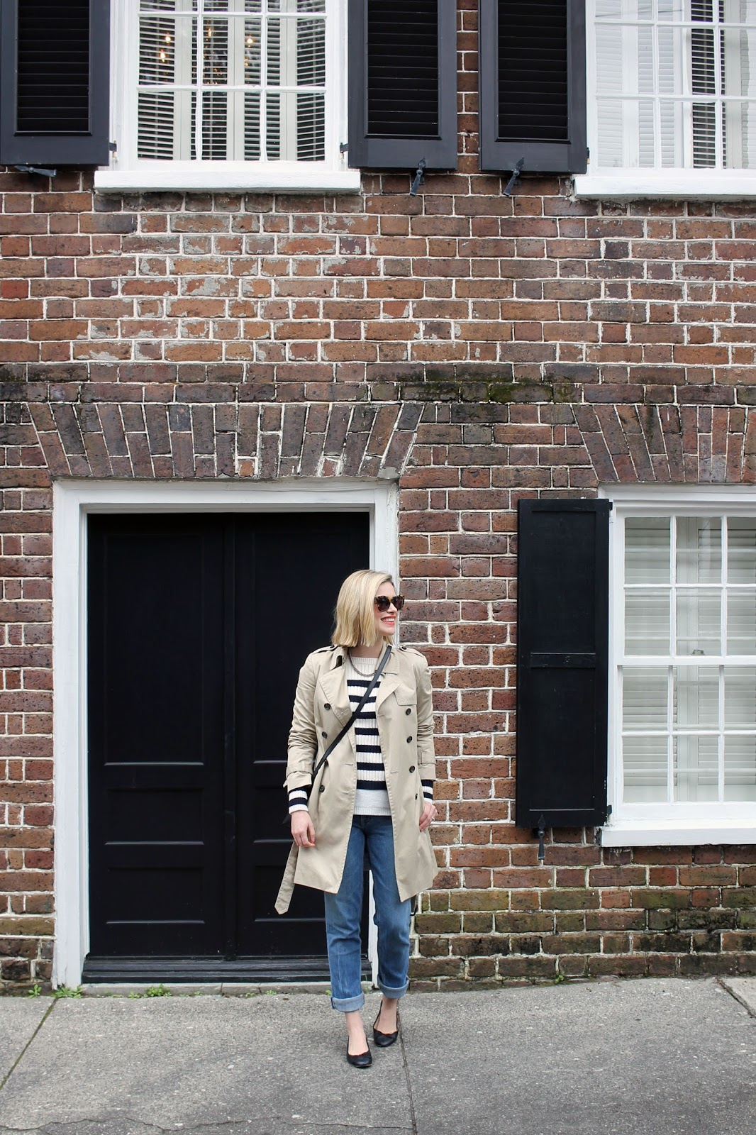 striped sweater & trench coat