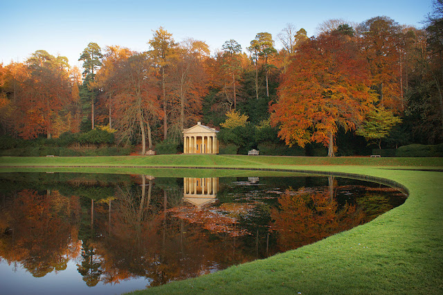 The Temple of Piety in the water gardens at Studley Royal Park