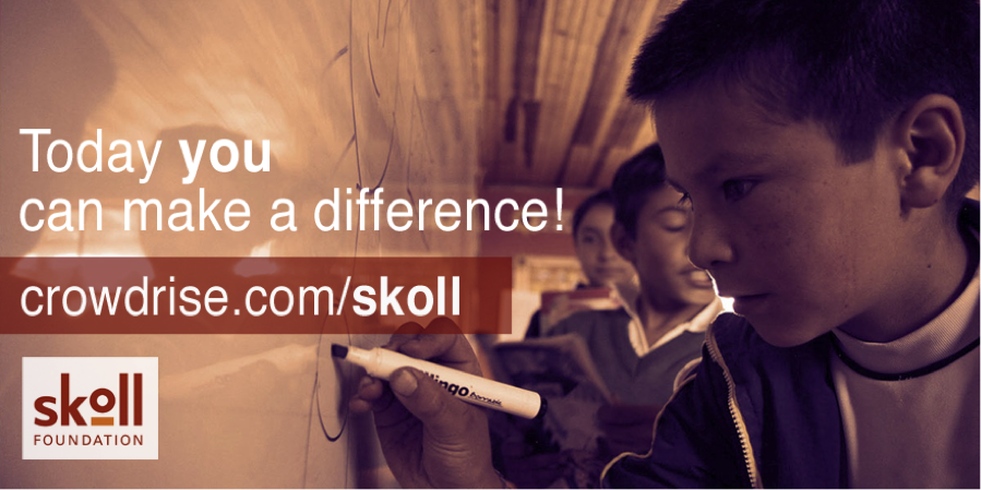 "A child holding a marker and writing on a whiteboard, set as background. On the front, the words ""Today you can make a difference!"" appear (the word ""you"" in bold), with the Skoll Foundation's logo and the URL crowdrise.com/skoll."