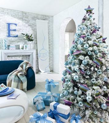 árbol de navidad nevado artificial
