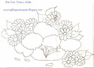 Pintura em tecidos hortênsias