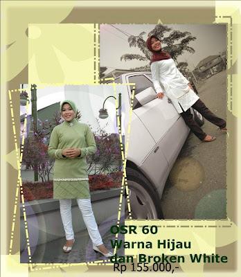 Koleksi Osmoes Kaos Muslimah Trendy Hijau Broken White