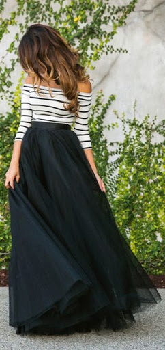 long black maxi tulle skirt