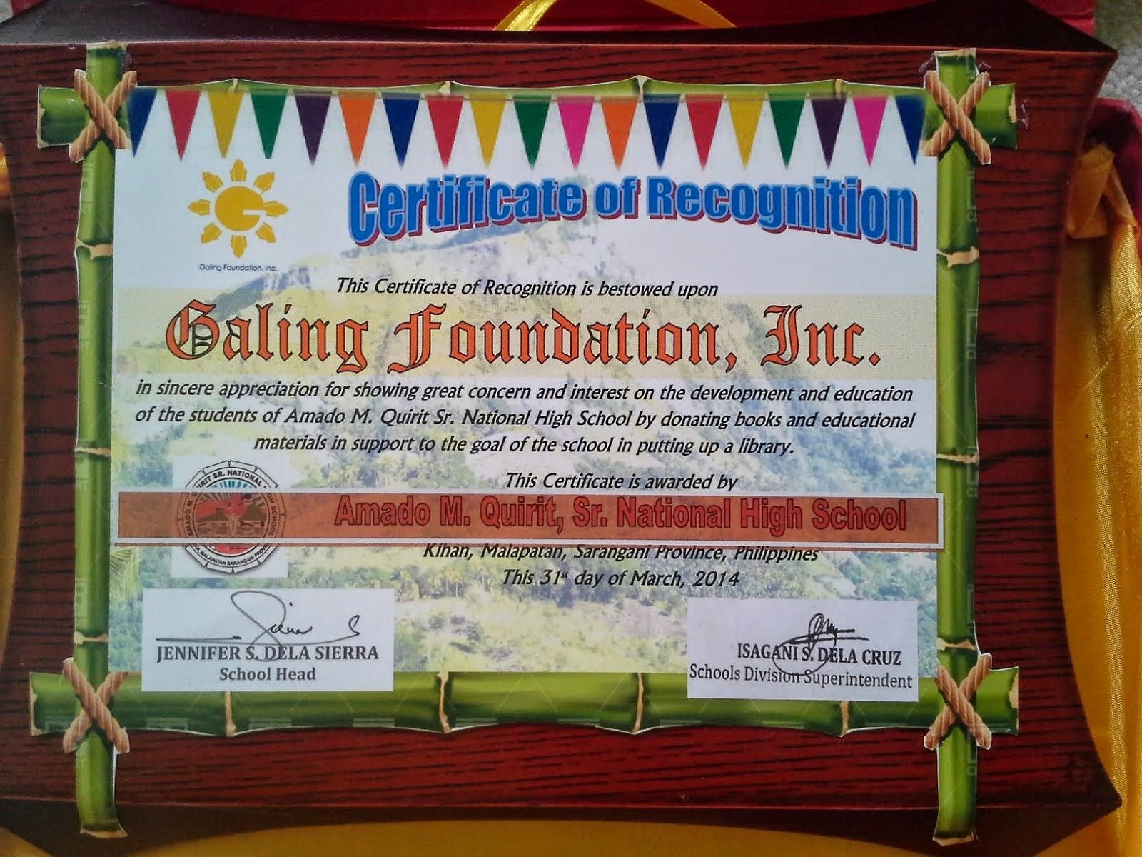 Recognition from Amado M. Quirit Sr. National High School