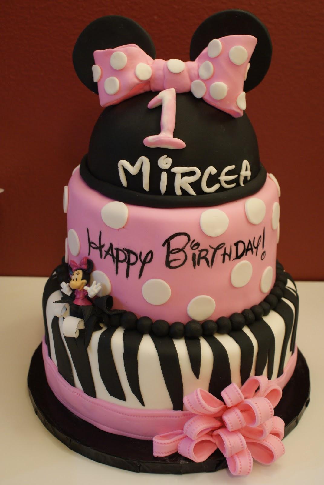 Minnie Mouse Zebra Birthday Cake