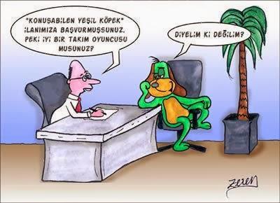 Konuşabilen Yeşil Köpek İş İlanı karikatür
