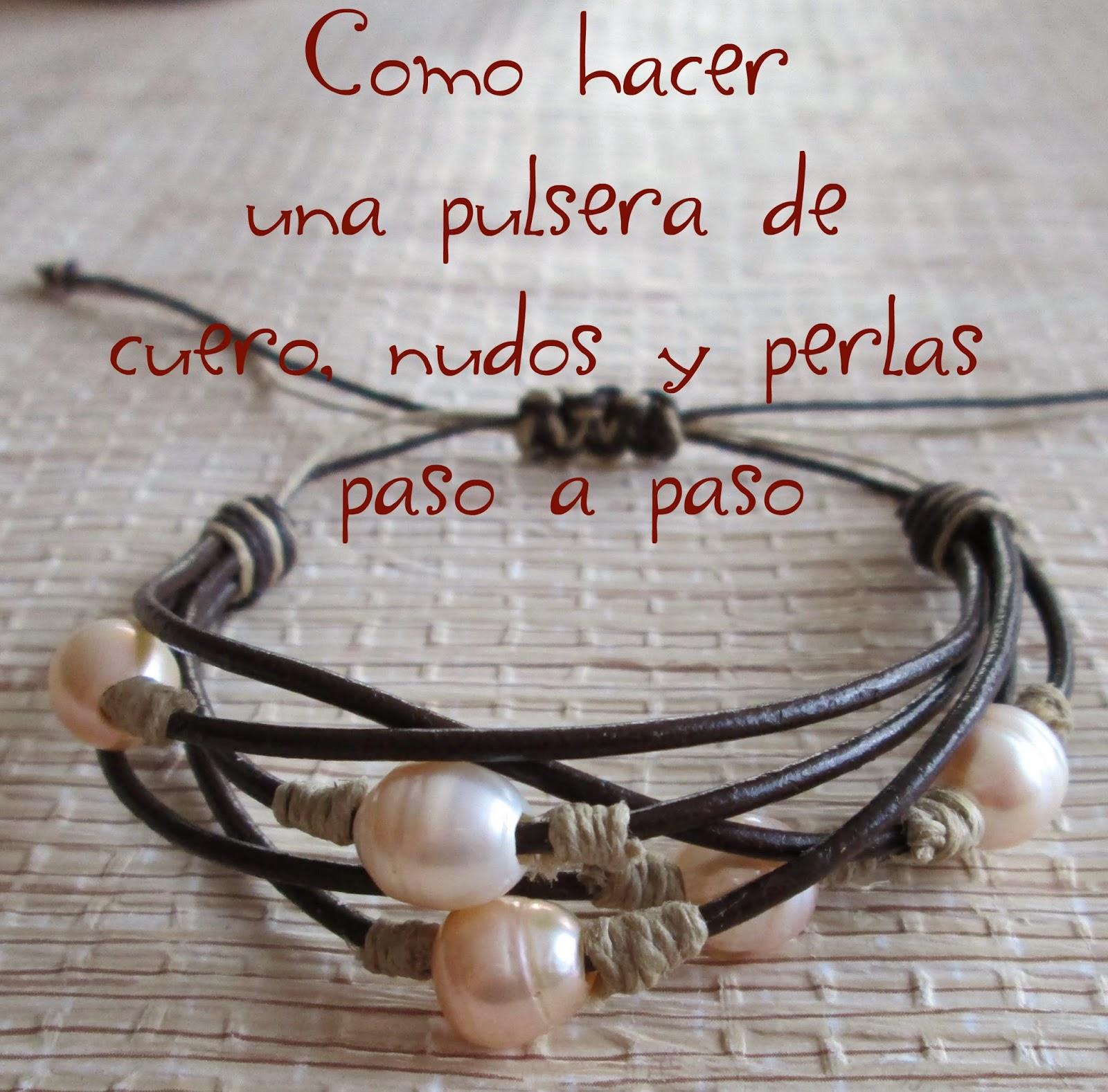 pulsera de cuero nudos y perlas paso a paso, pulseras de moda, pulseras tendencia