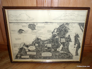Framed Drawn Map Of Leelanau County Michigan 1943 by Frederick Dickinson