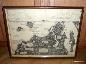 Framed Drawn Map Of Leelanau County Michigan 1943 by Frederick Dickinson