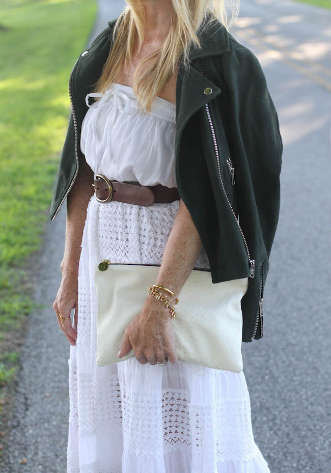 white maxi skirt, topshop jacket, clare v clutch, joie heels