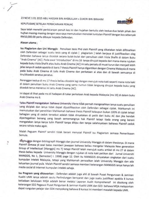 Tesis Prof Abu Hassan Disahkan Mahkamah Plagiat