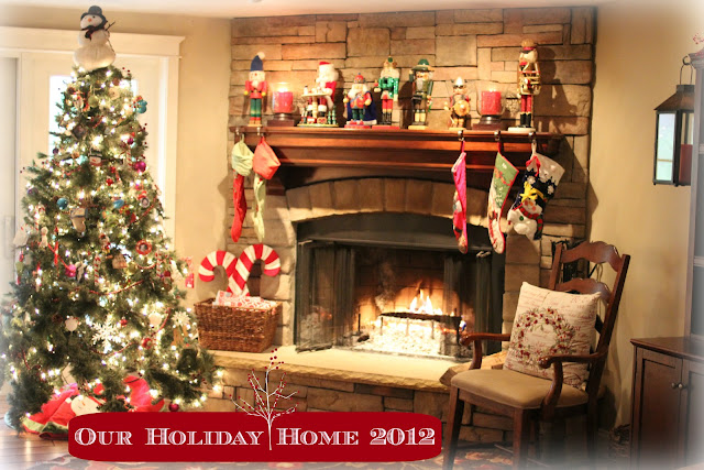 Rustic corner stone fireplace at Christmas with German nutcracker via www.goldenboysandme.com