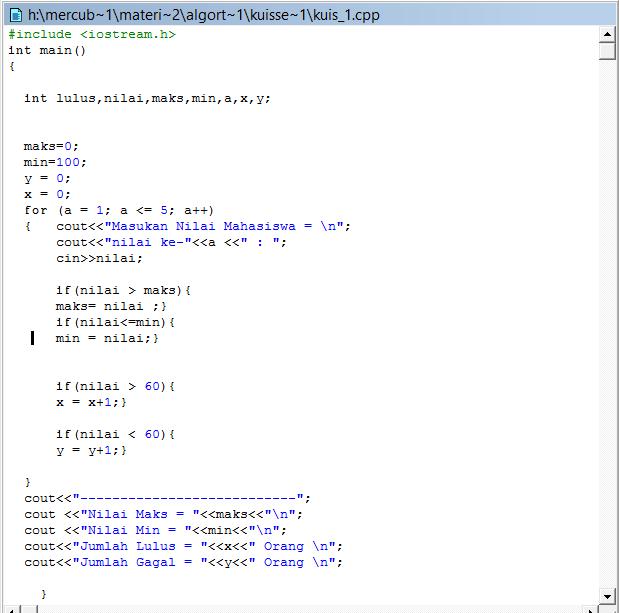 program c++ mencari nilai maksimum dan minimum