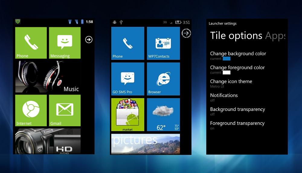 Aplicaciones android windows phone 7 launcher pro v304 : windows phone 7/75 launcher amazing launcher give same