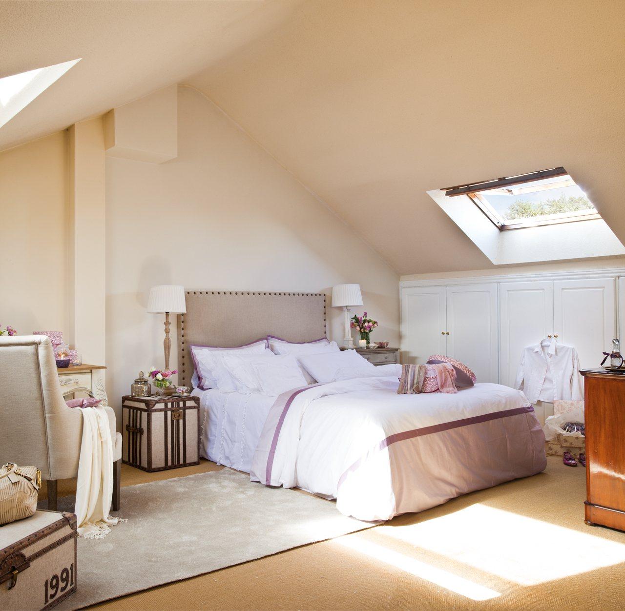 Un dormitorio alegre y en tonos c lidos - Muebles color cerezo como pintar paredes ...