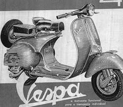 Propaganda da motocicleta Vespa nos anos 60.