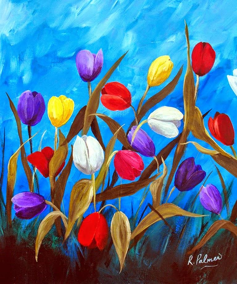 diseos modernos de flores para cuadros