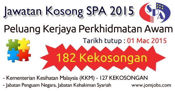 Peluang Kerjaya / Jawatan Kosong SPA Perkhidmatan Awam 2015