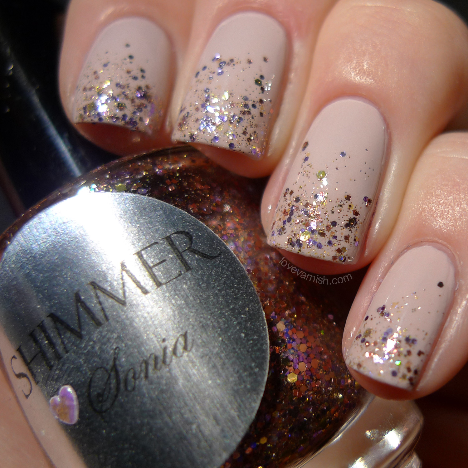 OPI Don't Bossa Nova Me Around and Shimmer Sonia glitter tips